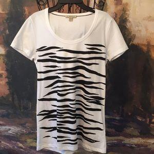 Burberry Women's White Zebra Print Tee